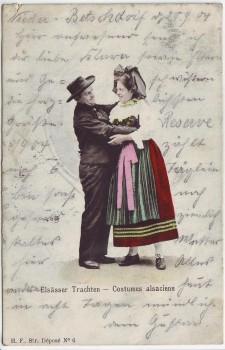 AK Elsässer Trachten Mann und Frau Frankreich 1904