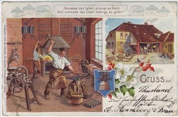 AK Litho Gruss aus ... Schmiede Ambos Schmied 1902