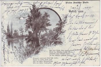 Künstler-AK Gruß aus ... Perlen Deutscher Poesie Landschaft Dessin 260 1900