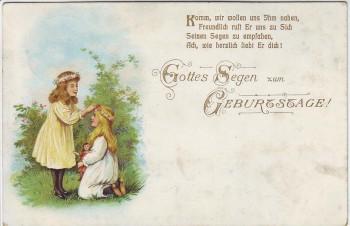 AK Gottes Segen zum Geburtstage 2 Kinder Gedicht 1910