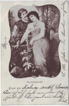Künstler-AK Gruß aus ... Nachbarskinder Liebende Dessin 807 1901