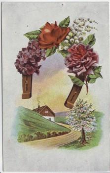 Künstler-AK Hufeisen mit Blumen Landschaft 1920