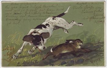 Präge-AK Hund jagt Hase Heyer 1906