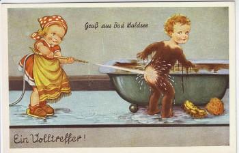AK Gruß aus Bad Waldsee Ein Volltreffer Comik 2 Kinder 1940