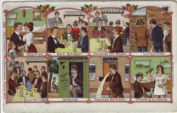 AK Litho Comic Abschied Schoppen Empfang Mann und Frau 1910