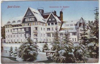 AK Bad Elster Sanatorium Dr. Koehler im Winter 1910