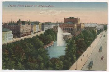 AK Leipzig Neues Theater mit Schwanenteich 1924
