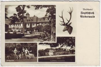 AK Mehrbild Rüdesheim am Rhein Waldhotel Jagdschloß Niederwald 1933