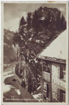 AK Foto Ruine Falkenstein mit Burghotel bei Pfronten im Winter 1933