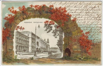 Präge-AK Passepartout München Residenz Festsaalbau 1904
