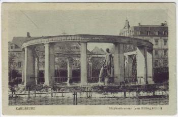 AK Karlsruhe Stephanbrunnen von Billing & Binz 1920