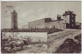 AK Brocken mit Hotel Aussichtsturm Hirsch 1913