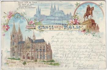 Litho Gruss aus Köln Dom Südseite Denkmal 1897