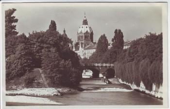 AK Foto München Isar mit Blick auf die Lukaskirche 1930