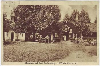 AK Blockhaus auf dem Taubenberg mit Menschen 895 m bei Warngau Oberbayern 1928