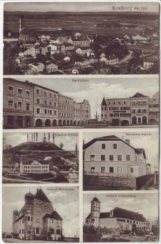 AK Mehrbild Kraiburg am Inn Marktplatz Schule Schloß ... 1910