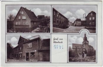 AK Mehrbild Gruß aus Utenbach Kirche Schule Pfarre bei Apolda Landpoststempel 1941