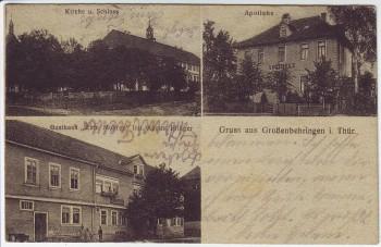 AK Gruss aus Großenbehringen Apotheke Gasthaus Kirche bei Behringen (Hörselberg-Hainich) Thüringen 1920