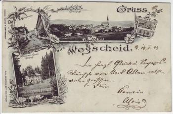 AK Gruss aus Wegscheid Totale Marktstrasse Kaserne Niederbayern 1899