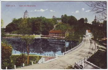 AK Tost Toszek Teich mit Burgruine Schlesien Polen 1920
