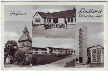 AK Mehrbild Gruß aus Lindhorst Kindergarten Kirche Schule 1960