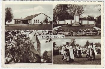 AK Mehrbild Lauenhagen Kriegerdenkmal Kirche Trachten bei Stadthagen 1961
