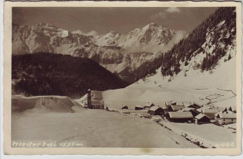 AK Foto Niederthai Ortsansicht im Winter Umhausen Tirol Österreich 1951