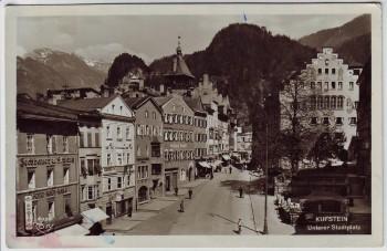 AK Foto Kufstein Unterer Stadtplatz mit Geschäften Tirol Österreich 1953