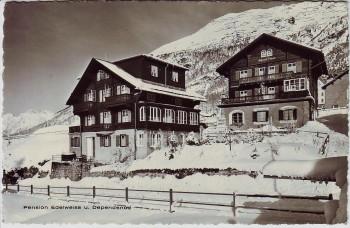 AK Foto Pontresina Pension Edelweiss u. Dependence im Winter GR Schweiz 1968