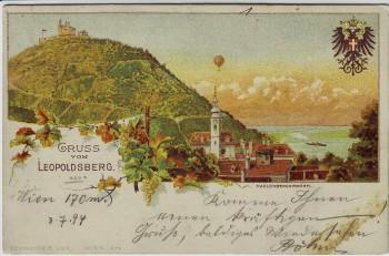 AK Litho Gruss vom Leopoldsberg Döbling Wien Ortsansicht mit Wappen 1894 RAR