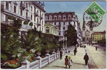 AK Luzern Promenade vor dem Hotel Schweizerhof LU Schweiz 1910