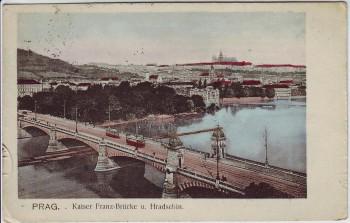 AK Praha Prag Kaiser Franz-Brücke Hradschin Tschechien 1905