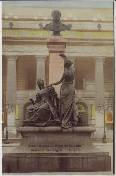 AK Paris Place de l'Odeon Statue Emile Augier Frankreich 1910