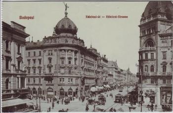 AK Budapest Rakoczi Strasse Ungarn 1910