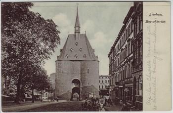 AK Aachen Marschiertor mit Menschen 1910