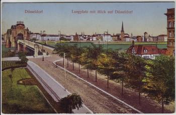 AK Düsseldorf Luegplatz mit Blick auf Stadt 1910