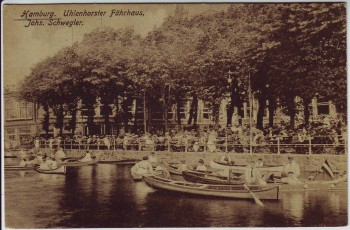 AK Hamburg Uhlenhorster Fährhaus Menschen Boote 1920