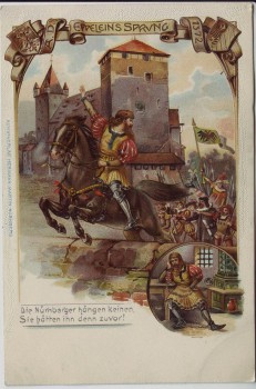 Präge-AK Litho Nürnberg Eppeleins Sprung Burg Wappen 1900