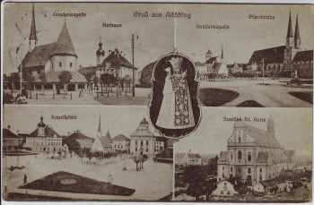 AK Mehrbild Gruß aus Altötting Gnadenkapelle Pfarrkirche Kapellplatz 1929