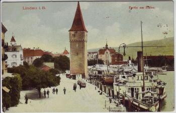 AK Lindau am Bodensee Partie am Hafen mit Schiffen 1910