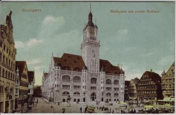 AK Stuttgart Marktplatz mit neuem Rathaus 1910