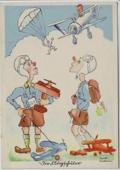 Künstler-AK Aquarell Flieger-Humor Nr. H II/1 1940