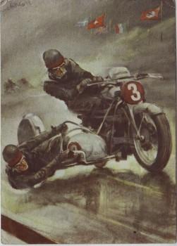 Künstler-AK Braun Kahrmann Rennfahrer Motorrad Seitenwagen Auto-Union DKW 1938 RAR