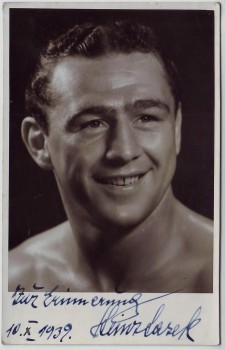 AK Foto Autograph Heinz Lazek Europameister Boxen Boxer Wien signiert Autogramm Österreich 1939 RAR