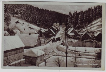 AK Tanne (Harz) Waldstraße im Winter bei Oberharz am Brocken 1950