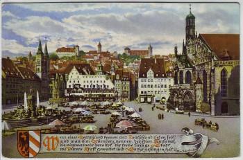 Künstler-AK Nürnberg Marktplatz mit Burgpanorama Stöger 1926