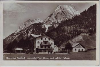 AK Foto Hinterriß Gasthof Alpenhof mit Risser und Lalider Falken bei Vomp Tirol Österreich 1939