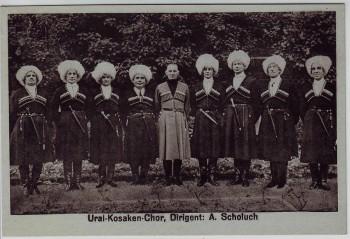 AK Foto Ural Kosaken Chor mit Dirigent 1930