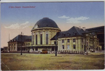 AK Köln Deutz Blick auf Hauptbahnhof Feldpost 1916