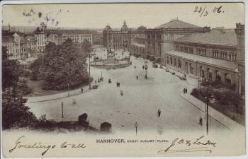 AK Hannover Blick auf Ernst August-Platz 1906